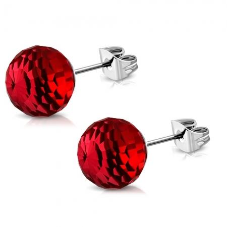 Cercei rosii din inox model disco