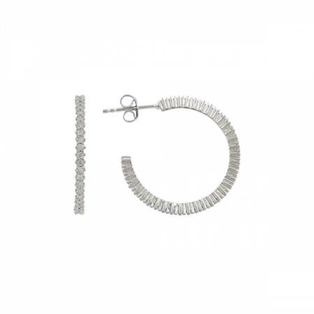 Cercei rotunzi argint 925 cu zirconii albe - Be Elegant ETU0058
