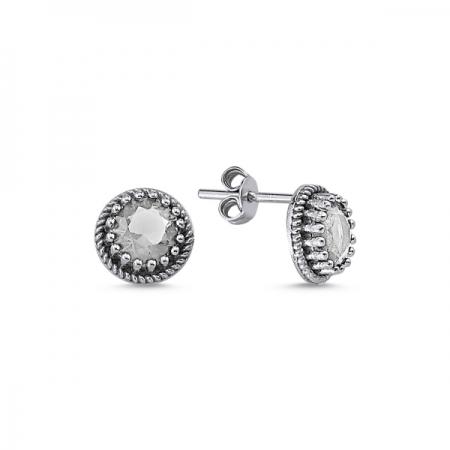 Cercei rotunzi argint 925 cu zirconii - Be Elegant ETU0095