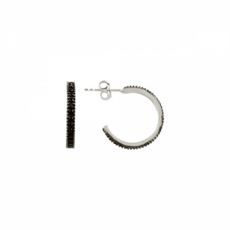 Cercei rotunzi argint 925 cu zirconii negre - Be Elegant ETU0060