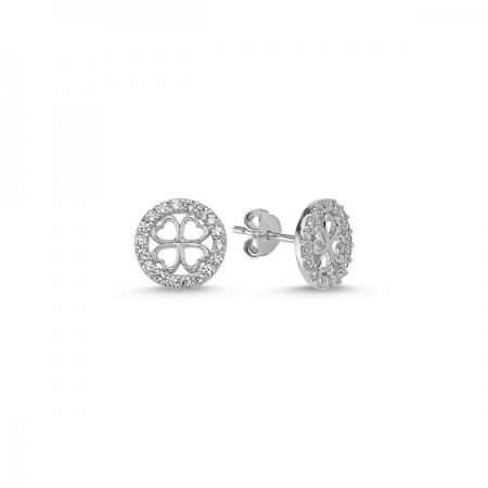 Cercei rotunzi argint 925 rodiat cu frunza de trifoi - Be Lucky ETU0065