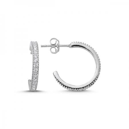 Cercei rotunzi argint 925 rodiat cu zirconii albe - Be Elegant ETU0059