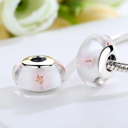 Charm argint 925 alb cu floricele roz - Be Nature PST0074 [1]