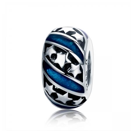 Charm argint 925 albastru cu stelute argintii - Be Nature PST0123