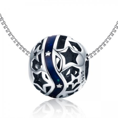 Charm argint 925 albastru cu stelute argintii - Be Nature PST01256