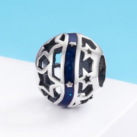 Charm argint 925 albastru cu stelute argintii - Be Nature PST01252
