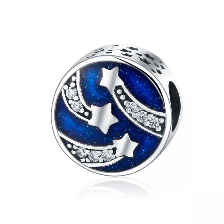 Charm argint 925 albastru cu stelute argintii si zirconii albe - Be Nature PST0089