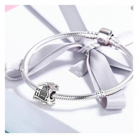Charm argint 925 casuta Sweet Home cu inimioare rosii PST01074