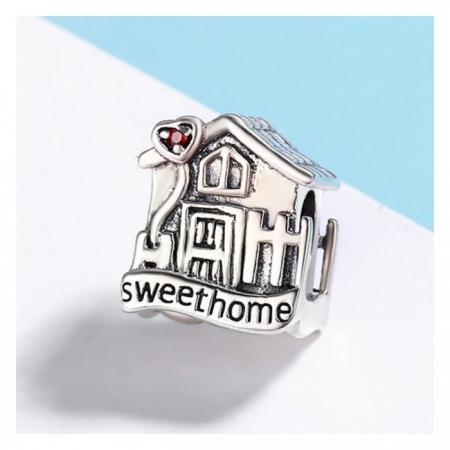 Charm argint 925 casuta Sweet Home cu inimioare rosii PST01073