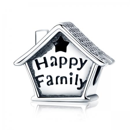 Charm argint 925 casutaHappy Family cu steluta decupata PST0132