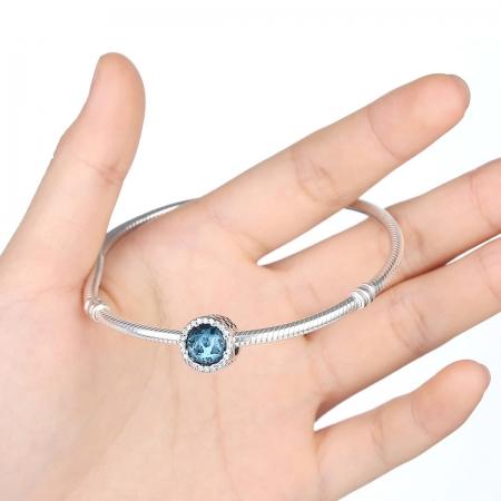 Charm argint 925 cristal bleu cu inimioare si zirconii albe - Be in Love PST00332