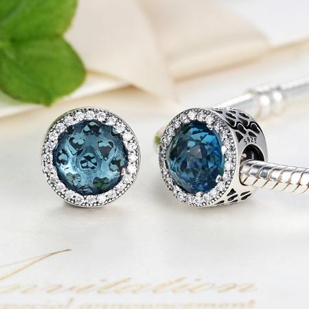 Charm argint 925 cristal bleu cu inimioare si zirconii albe - Be in Love PST00334