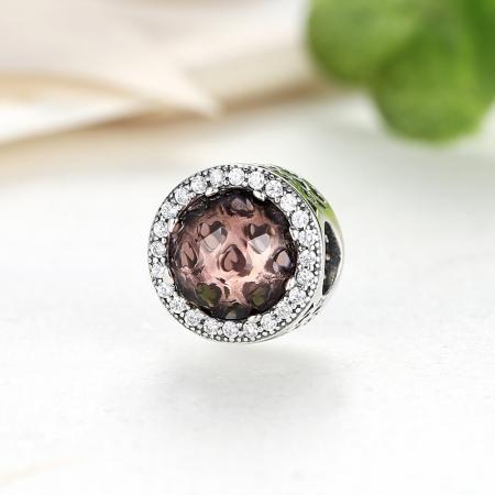 Charm argint 925 cristal maro cu inimioare si zirconii albe - Be in Love PST00254