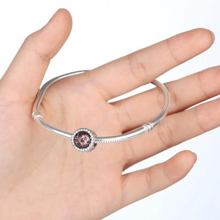 Charm argint 925 cristal maro cu inimioare si zirconii albe - Be in Love PST00252