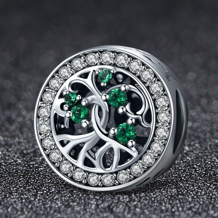Charm argint 925 cu copacul vietii si zirconii albe si verzi - Be Nature  PST0083 [2]