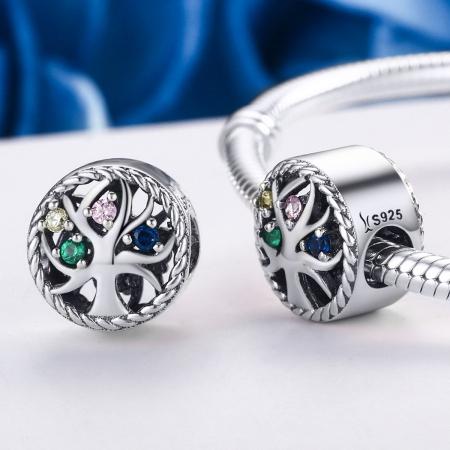 Charm argint 925 cu copacul vietii si zirconii multicolore - Be Nature  PST00861