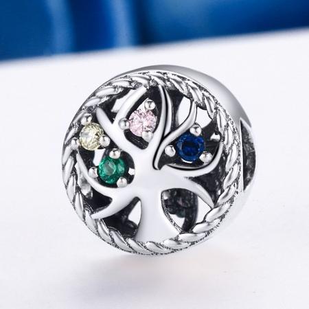 Charm argint 925 cu copacul vietii si zirconii multicolore - Be Nature  PST00863