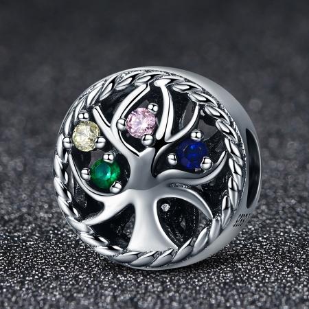 Charm argint 925 cu copacul vietii si zirconii multicolore - Be Nature  PST00862