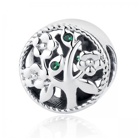 Charm argint 925 cu copacul vietii si zirconii verzi - Be Nature  PST0059