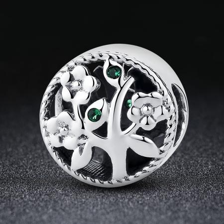Charm argint 925 cu copacul vietii si zirconii verzi - Be Nature  PST00591