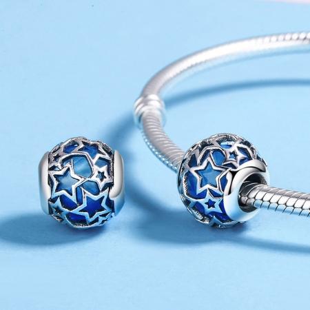 Charm argint 925 cu cristal albastru si stelute argintii - Be Nature PST01164