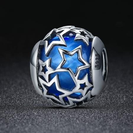 Charm argint 925 cu cristal albastru si stelute argintii - Be Nature PST01161