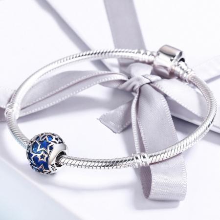 Charm argint 925 cu cristal albastru si stelute argintii - Be Nature PST01163
