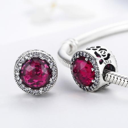 Charm argint 925 cu cristal rosu si zirconii albe - Be Elegant PST00782