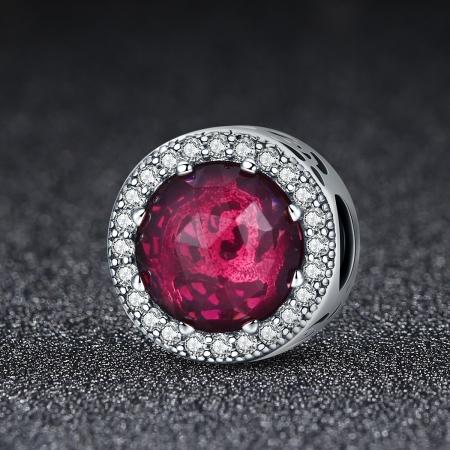 Charm argint 925 cu cristal rosu si zirconii albe - Be Elegant PST00781