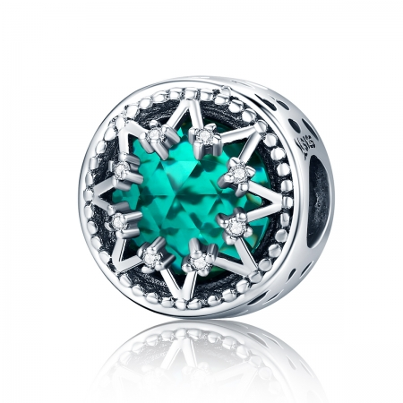 Charm argint 925 cu cristal turcoaz, fulg de nea si zirconii albe - Be Nature PST01100