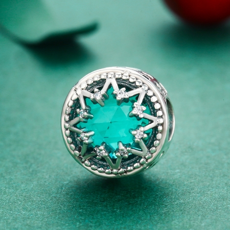 Charm argint 925 cu cristal turcoaz, fulg de nea si zirconii albe - Be Nature PST01103