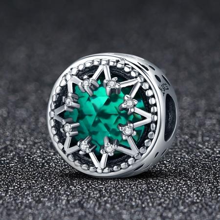 Charm argint 925 cu cristal turcoaz, fulg de nea si zirconii albe - Be Nature PST01101