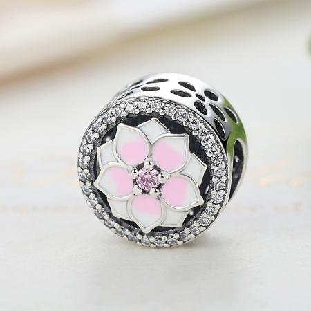 Charm argint 925 cu floare roz si zirconii albe - Be Nature PST00492