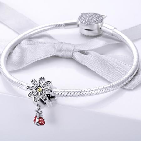 Charm argint 925 cu floare si gargarita - Be Lucky PST01341