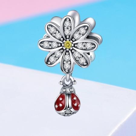 Charm argint 925 cu floare si gargarita - Be Lucky PST01344