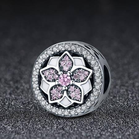 Charm argint 925 cu floare si zirconii albe si roz - Be Nature PST00812