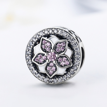 Charm argint 925 cu floare si zirconii albe si roz - Be Nature PST00813