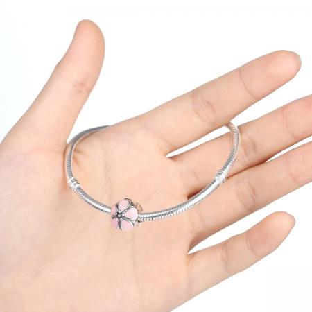 Charm argint 925 cu floricele roz - Be Nature PST00182