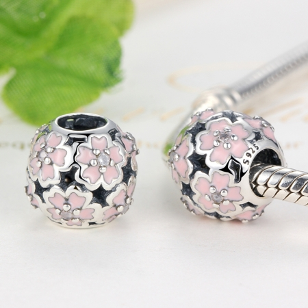 Charm argint 925 cu floricele roz si zirconii albe - Be Nature PST0023 [1]