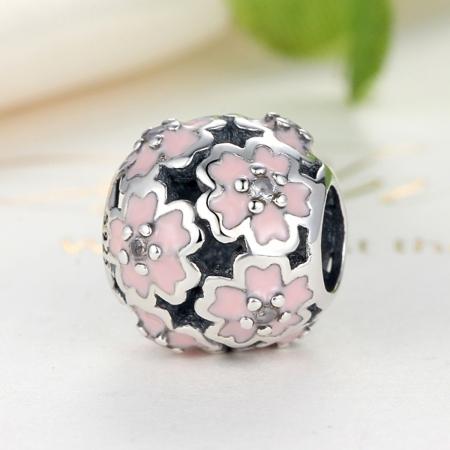 Charm argint 925 cu floricele roz si zirconii albe - Be Nature PST0023 [3]