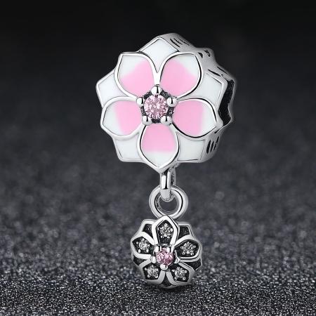 Charm argint 925 cu floricele roz si zirconii albe si roz - Be Nature PST00501
