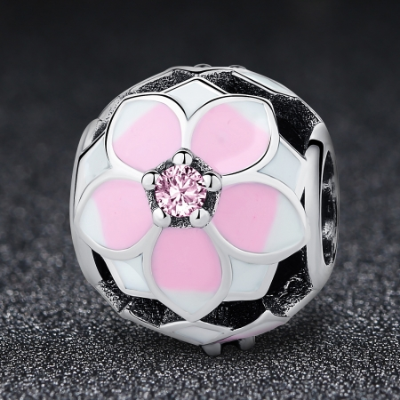 Charm argint 925 cu floricele roz si zirconii albe si roz - Be Nature PST00511