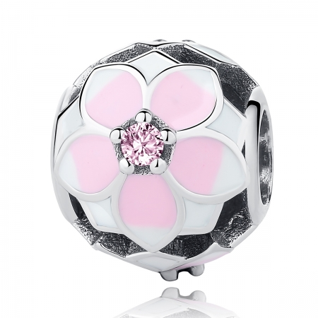Charm argint 925 cu floricele roz si zirconii albe si roz - Be Nature PST00510