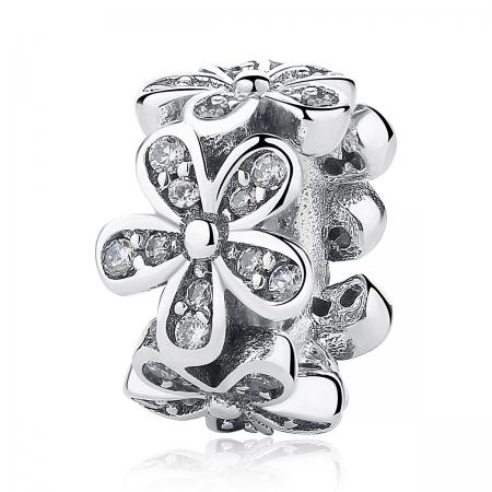 Charm argint 925 cu floricele si zirconii albe - Be Nature PST0052