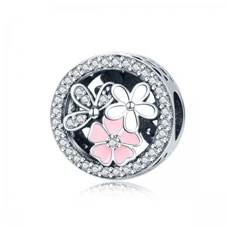Charm argint 925 cu floricele si zirconii albe - Be Nature PST0080