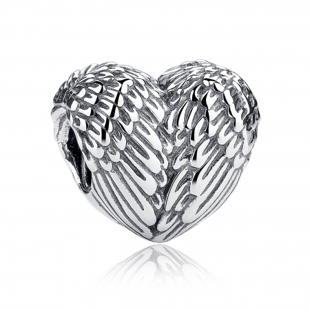 Charm argint 925 cu inimioara si aripi de inger - Be Spiritual PST0015