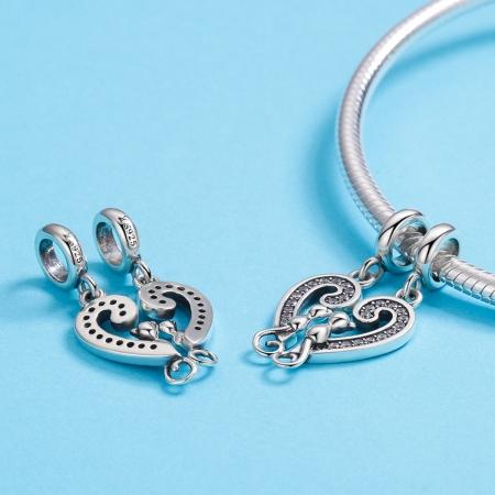 Charm  argint 925 cu inimioara si pisicute - Be Nature PST01264