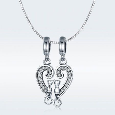 Charm  argint 925 cu inimioara si pisicute - Be Nature PST01268