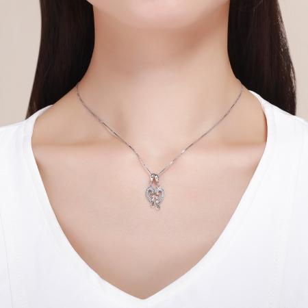 Charm  argint 925 cu inimioara si pisicute - Be Nature PST01265