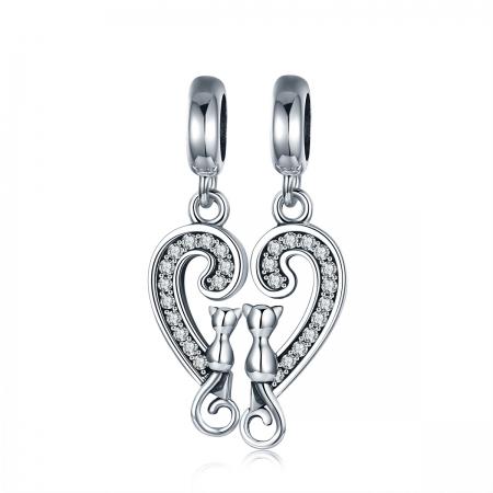 Charm  argint 925 cu inimioara si pisicute - Be Nature PST0126